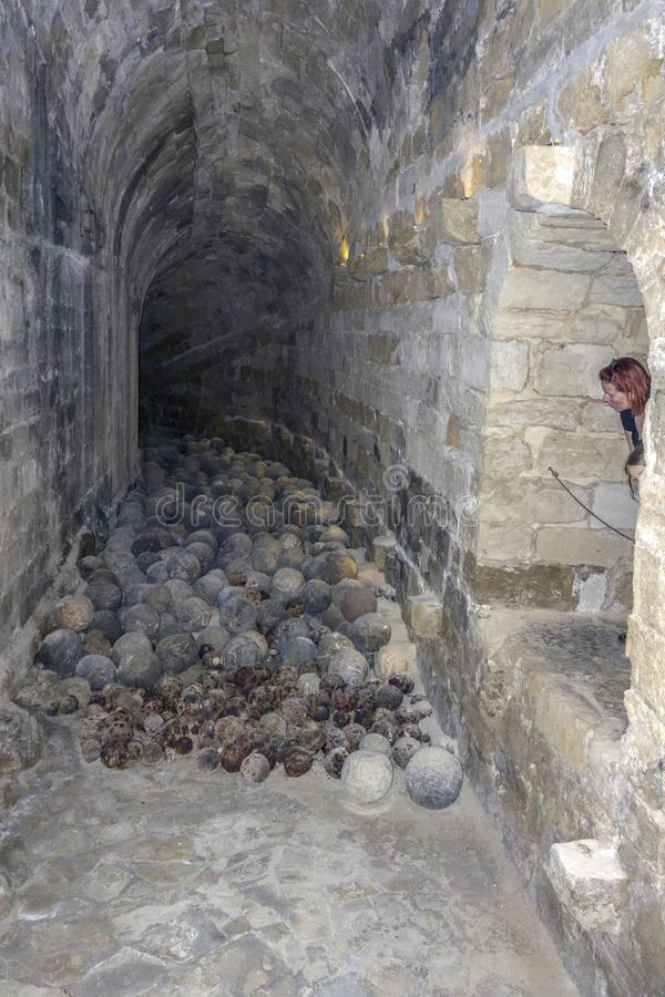 Vista interior del castello de Koules de la fortaleza una ciudad de Heraklion del ion de la yegua, Creta - Grecia imagen de archivo