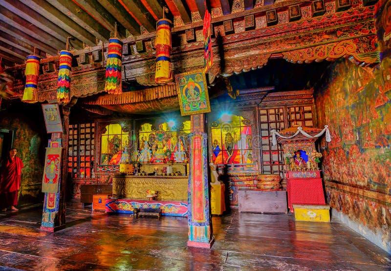 Vista interior del monasterio de Silerygaon, Sikkim, la India imagen de archivo libre de regalías