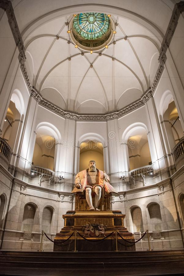 Vista interior del museo nórdico Nordiska Museet en Estocolmo, Suecia imagen de archivo