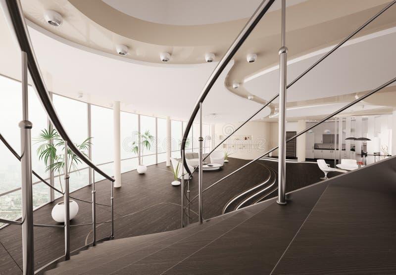 A vista interior moderna da escadaria 3d rende ilustração royalty free