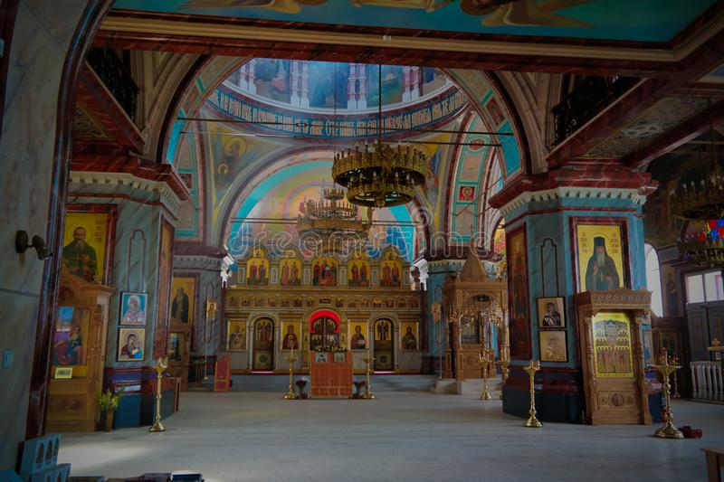 Vista interna alla decapitazione di St John la cattedrale del battista nel kremlin di Zarajsk, regione di Mosca, Russia fotografie stock libere da diritti
