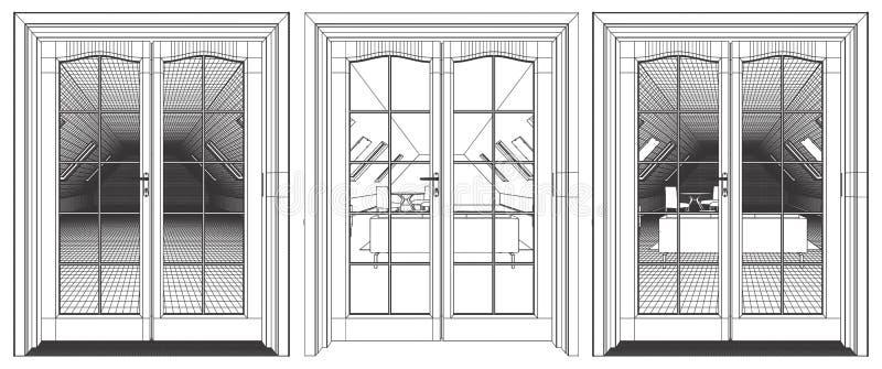 Vista interna del sottotetto attraverso la porta del terrazzo illustrazione di stock