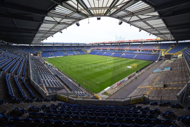 Vista interna dell'arena di Brondby immagine stock