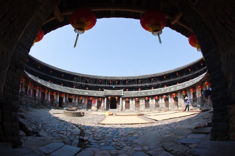 Vista interna della costruzione rotonda della terra di Hakka fotografia stock