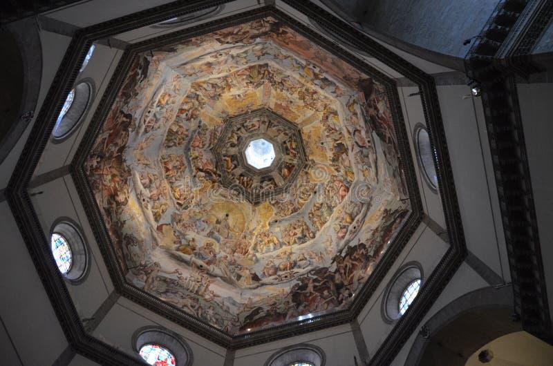 Vista interna della pittura della cupola Di Santa Maria del Fiore, duomo, Firenze, Italia della basilica fotografia stock