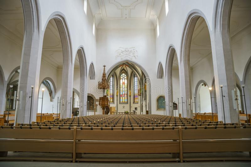 Vista interna della st Johann di Kirche fotografie stock libere da diritti