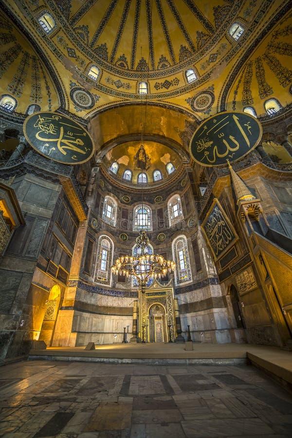 Vista interna di Haghia Sophia, Costantinopoli, Turchia immagini stock libere da diritti