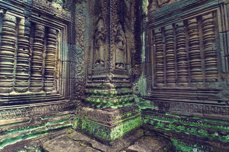 Vista interna do templo do som de Ta. Angkor Wat fotografia de stock
