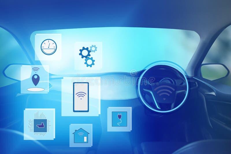 Vista interna, schermo di visualizzazione ed azionamento automatico di auto Tecnologia astuta elettrica dell'automobile illustrazione di stock