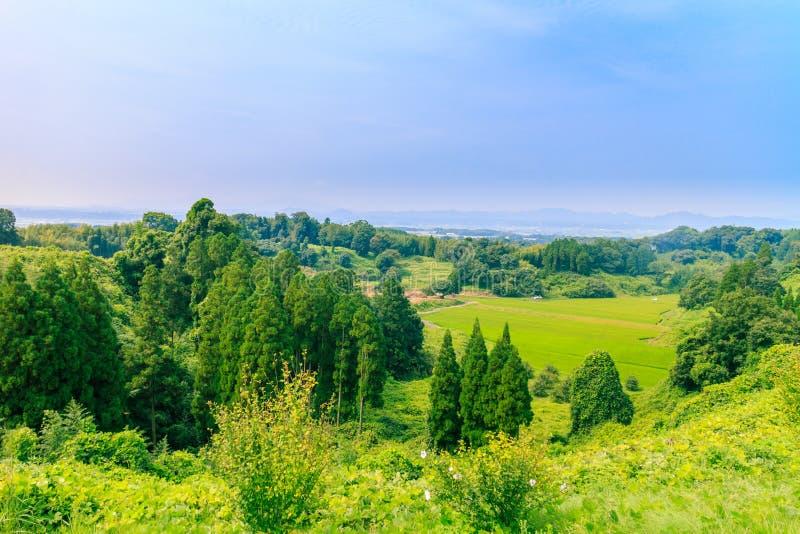 Vista intorno al castello di kikuchi fotografia stock libera da diritti