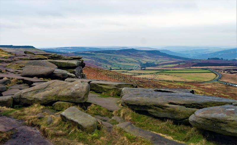 Vista invernale Pastoral a Stannage Edge, Derbyshire, gennaio 2020 fotografia stock libera da diritti