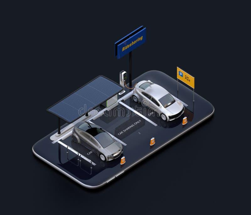 Vista isométrica de coches eléctricos con los paneles solares, las estaciones de carga y la batería en smartphone stock de ilustración