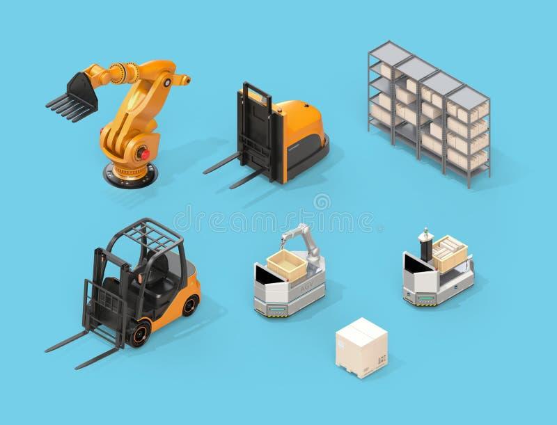 Vista isométrica de la carretilla elevadora eléctrica, carretilla elevadora autónoma, AGV, robot industrial en fondo azul ilustración del vector