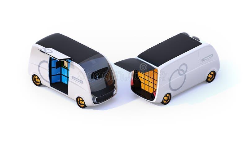 Vista isométrica de las furgonetas de entrega en el fondo blanco stock de ilustración