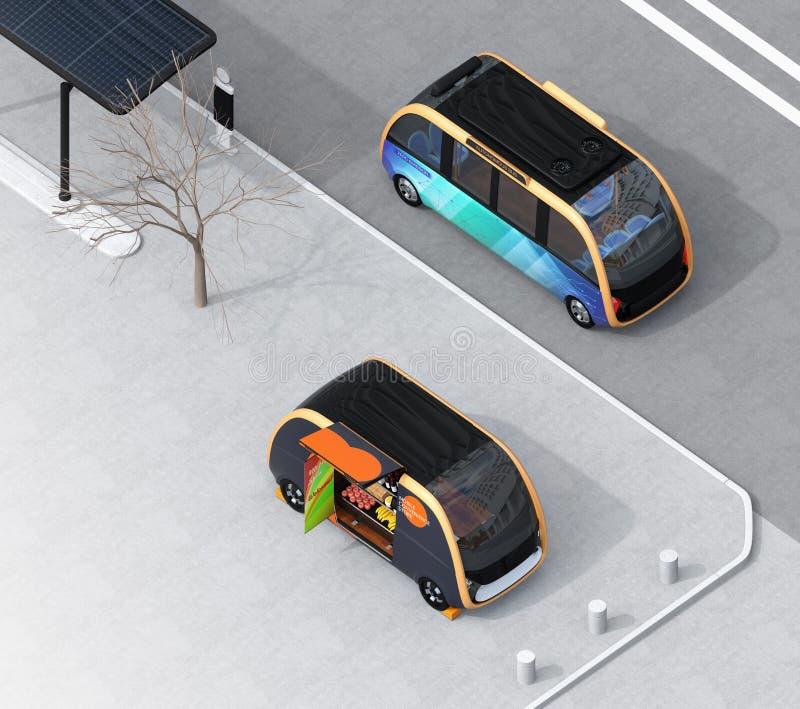 Vista isométrica del autobús de uno mismo-conducción que pasa el coche de la venta en la calle ilustración del vector