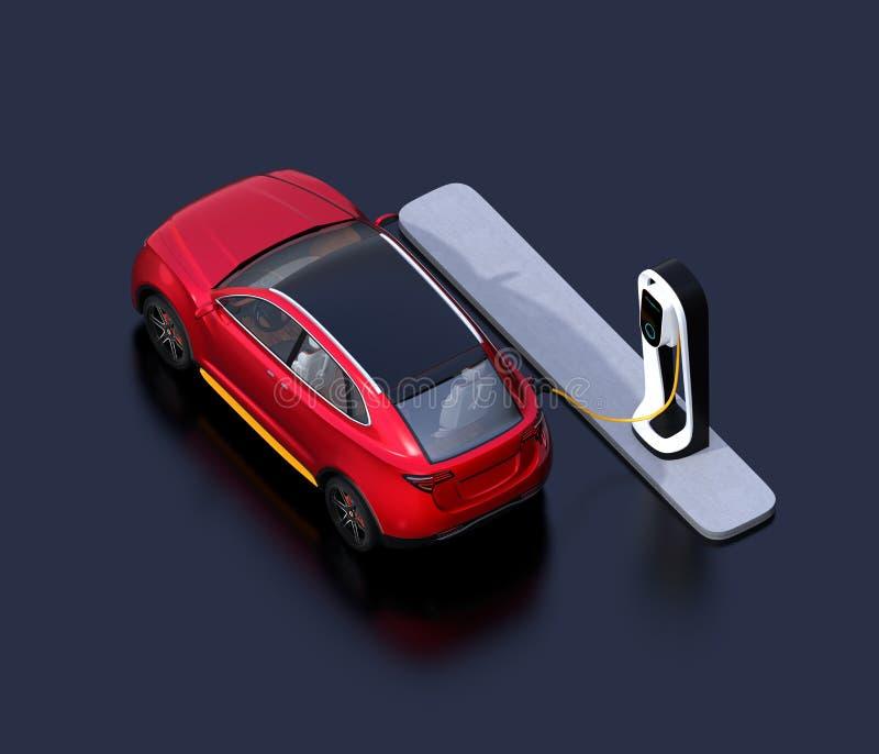 Vista isométrica del coche eléctrico rojo de SUV que carga en la estación de carga libre illustration