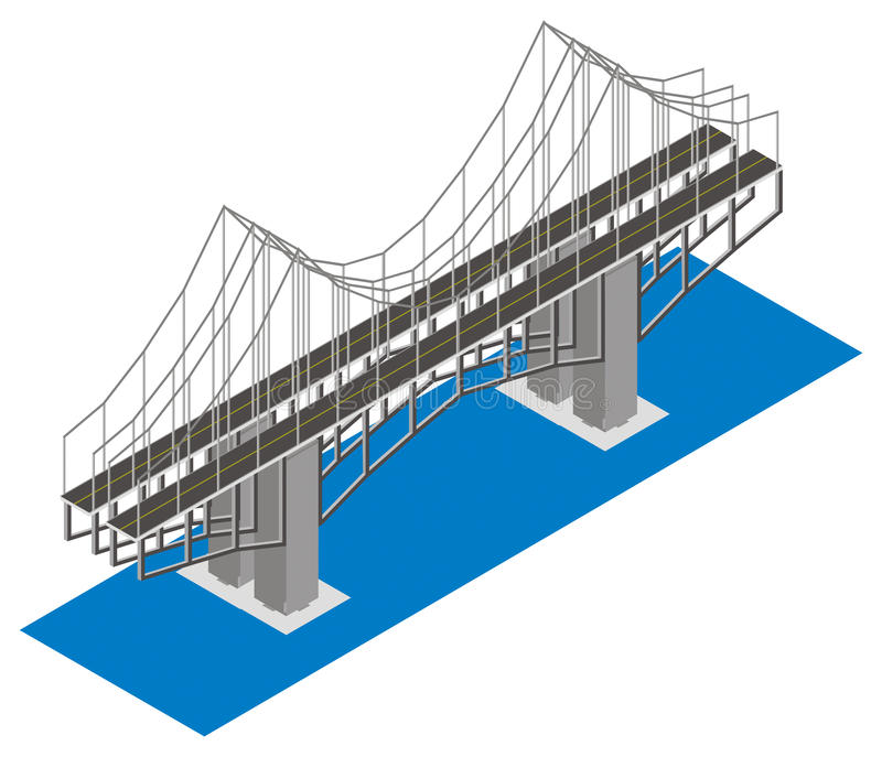 Vista isométrica del puente libre illustration