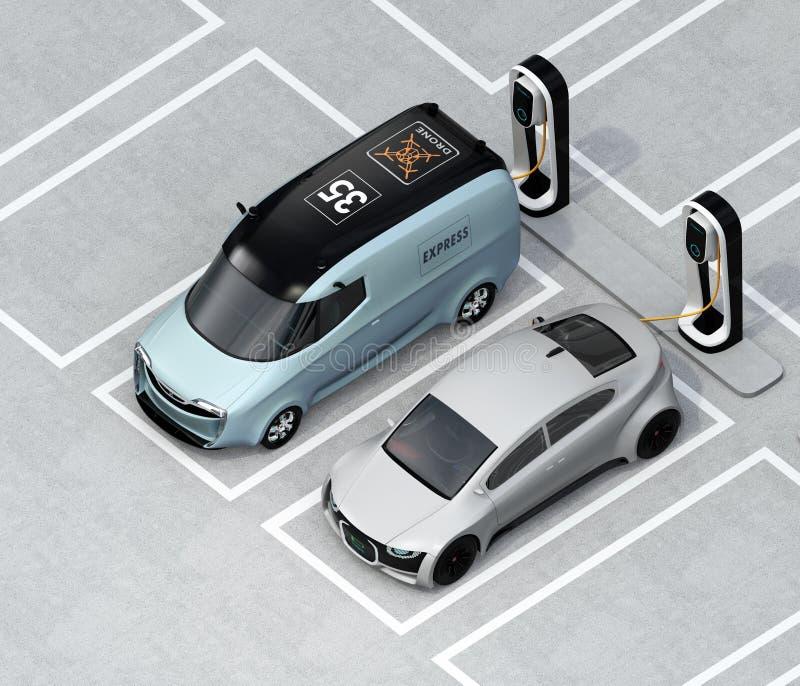 Vista isométrica del sedán eléctrico del minivan y de la plata que carga en la estación de carga libre illustration