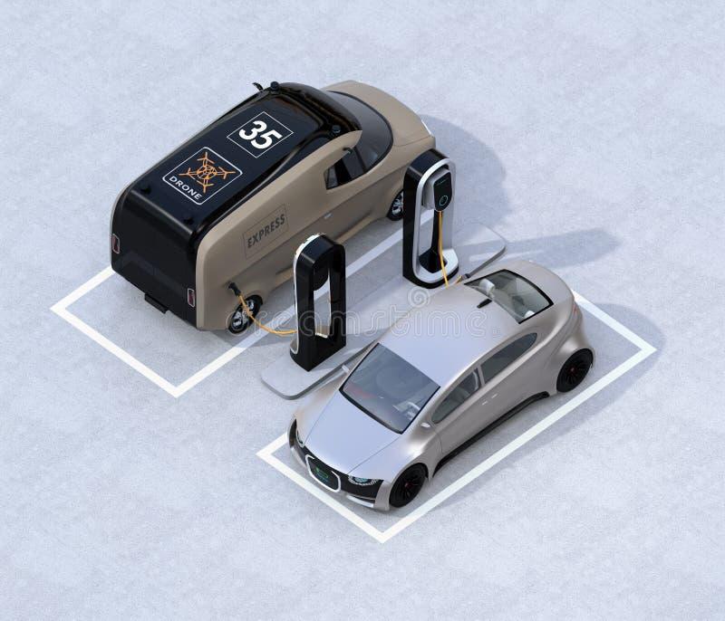 Vista isométrica del sedán eléctrico del minivan y de la plata que carga en la estación de carga stock de ilustración