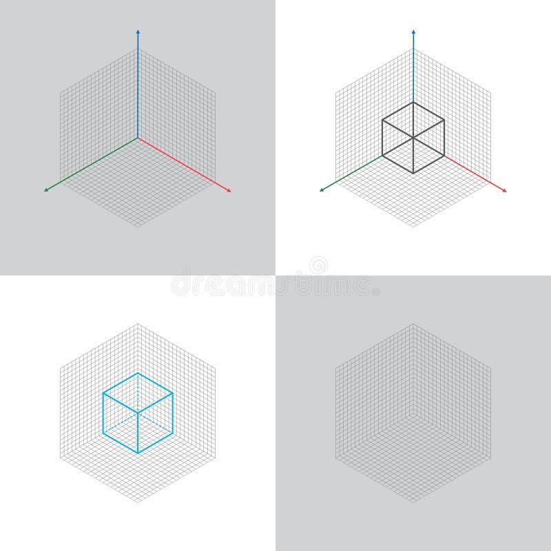 Vista isométrica, linha central de coordenadas 3d ilustração stock
