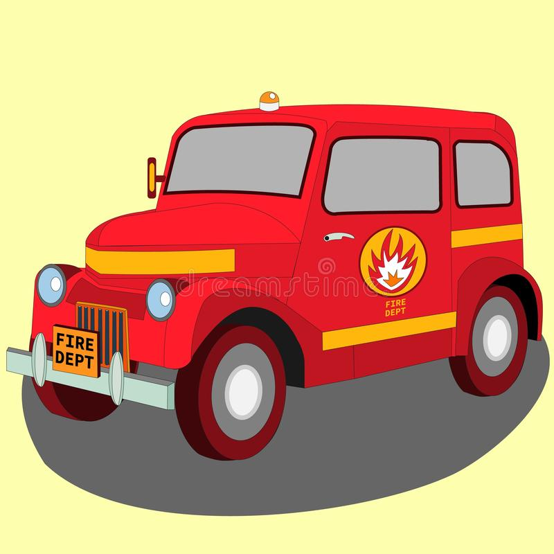 Vista isometrica 3D della retro automobile del pompiere del veicolo classico illustrazione vettoriale