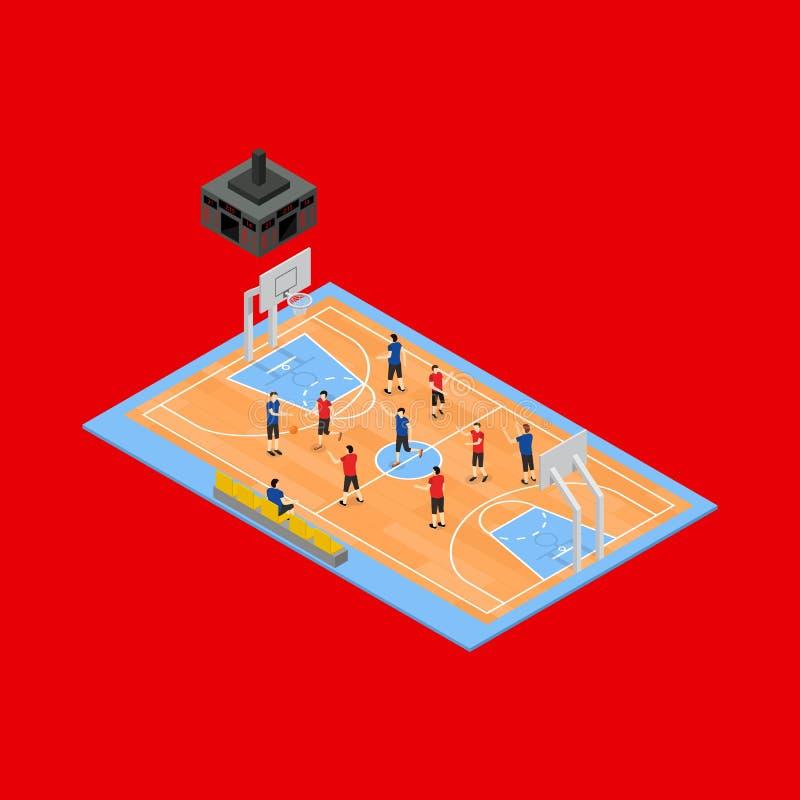 Vista isometrica del campo 3d di pallacanestro Vettore illustrazione di stock