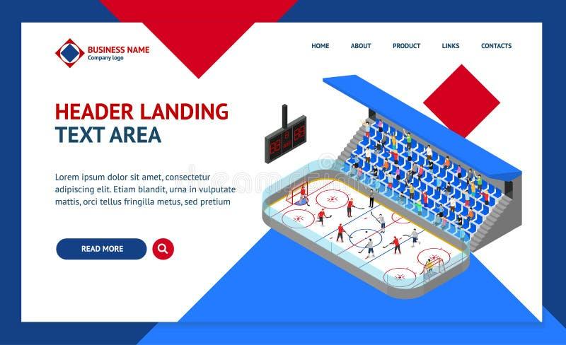 Vista isometrica del modello 3d della pagina Web di atterraggio di concetto della concorrenza dell'arena del hockey su ghiaccio V illustrazione vettoriale