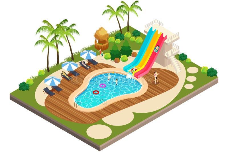 Vista isometrica dell'illustrazione della località di soggiorno di viaggio di nuoto royalty illustrazione gratis
