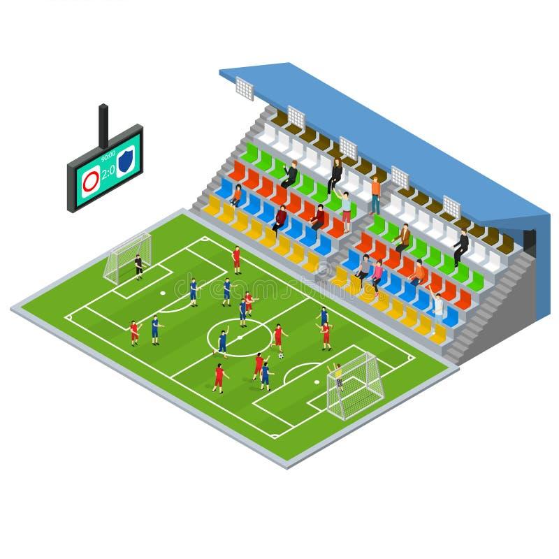 Vista isometrica della concorrenza dello stadio di calcio Vettore royalty illustrazione gratis
