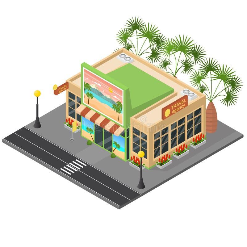 Vista isometrica di concetto 3d della costruzione della facciata dell'agenzia di viaggi Vettore royalty illustrazione gratis
