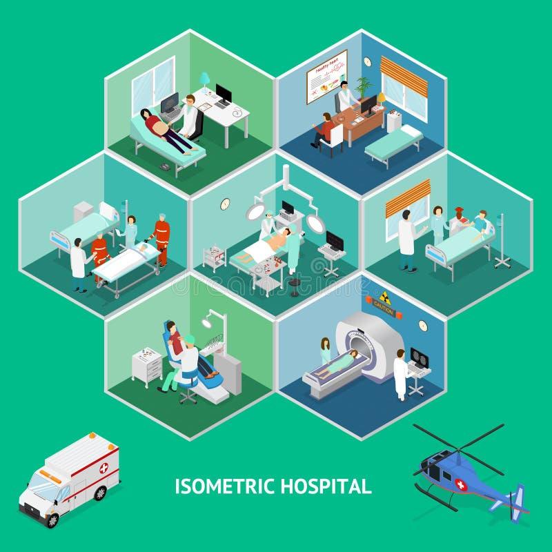 Vista isometrica di concetto dell'ospedale della medicina Vettore illustrazione vettoriale