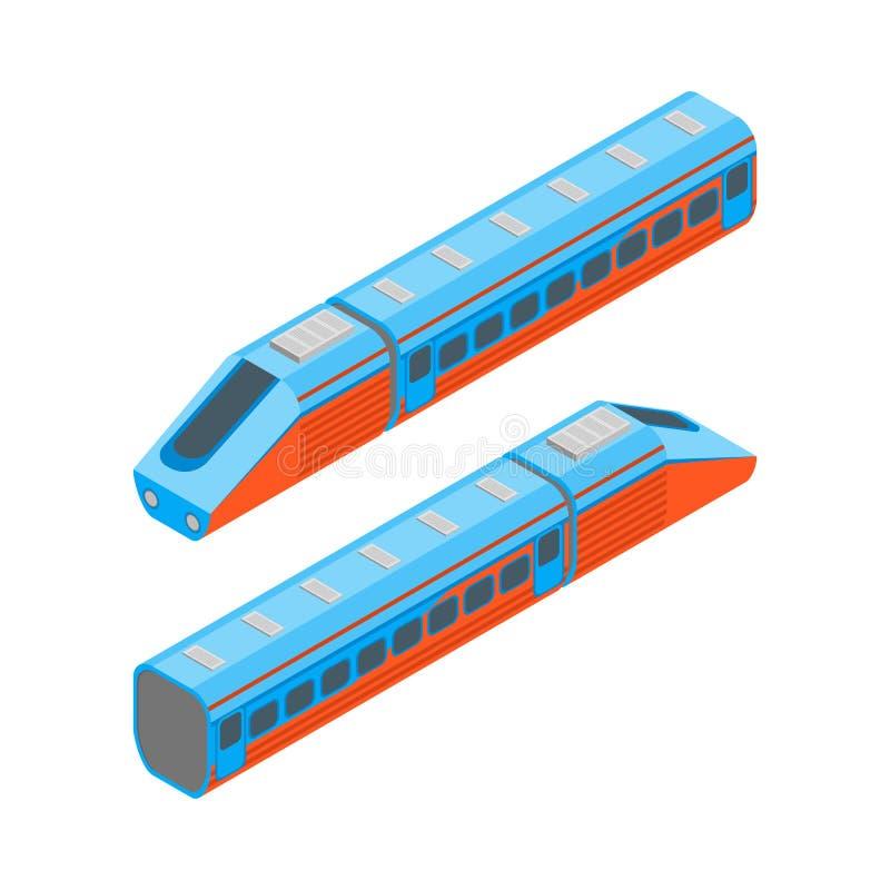 Vista isometrica ferroviaria del treno passeggeri Vettore royalty illustrazione gratis