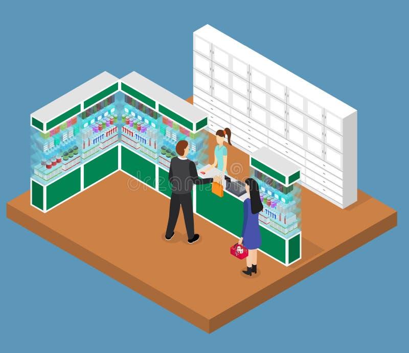 Vista isometrica interna del negozio della farmacia Vettore royalty illustrazione gratis