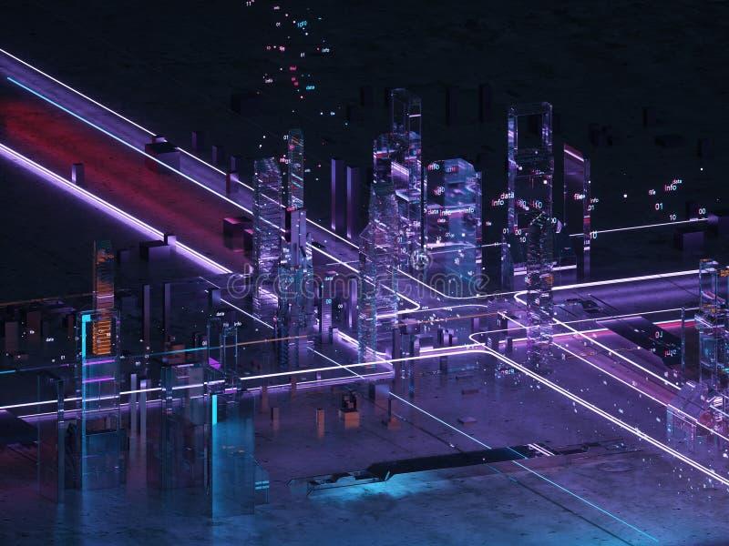Vista isometrica leggera al neon della città futuristica Base di dati Grandi dati codificazione illustrazione vettoriale