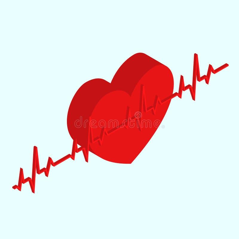 Vista isometrica medica del cuore Vettore illustrazione di stock