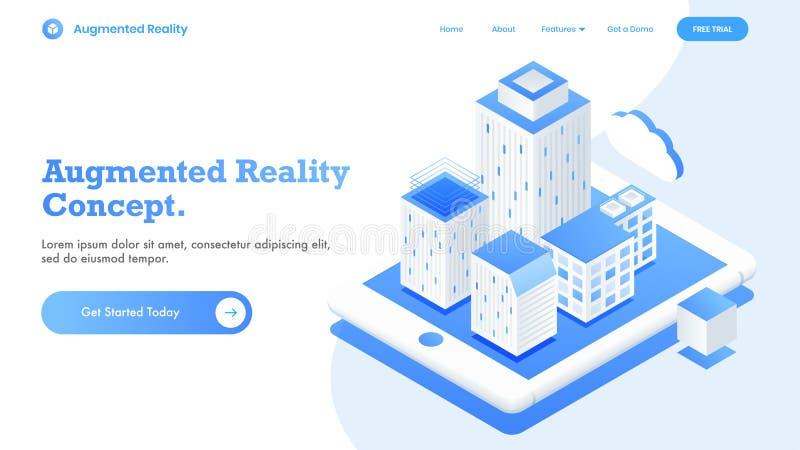 Vista isometrica per progettazione d'atterraggio rispondente della pagina con il concetto astuto futuristico della città illustrazione vettoriale