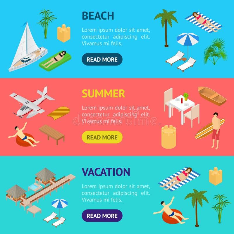 Vista isometrica stabilita 3d di orizzontale dell'insegna di vacanza della spiaggia Vettore illustrazione vettoriale