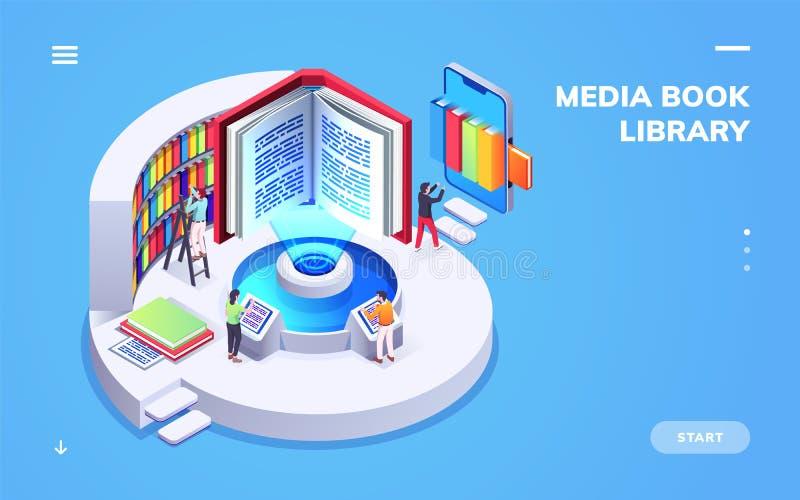 Vista isometrica su scuola digitale o sulla biblioteca universitaria illustrazione vettoriale