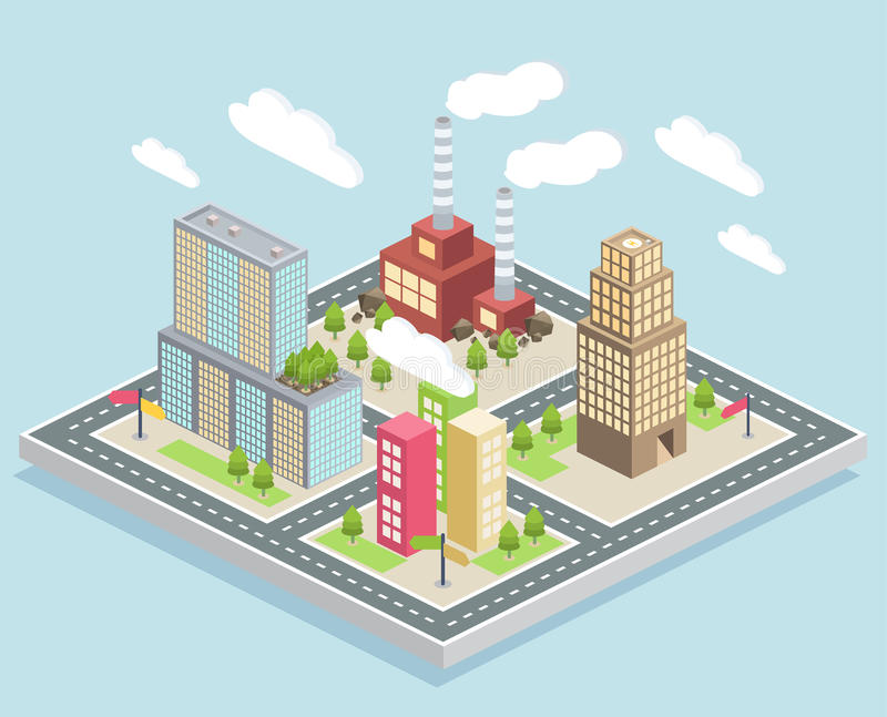 Vista isometrica, una piccola città illustrazione vettoriale