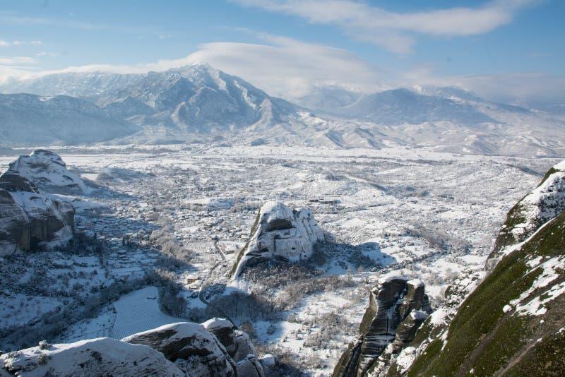 Vista a Kastraki dal monastero di Megala Meteora immagini stock libere da diritti