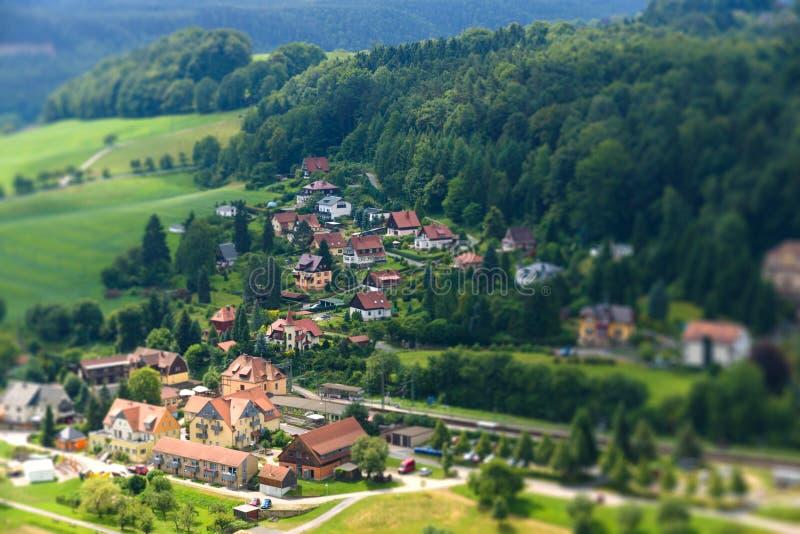 Vista Kurort Rathen. Saxon Svizzera fotografie stock libere da diritti