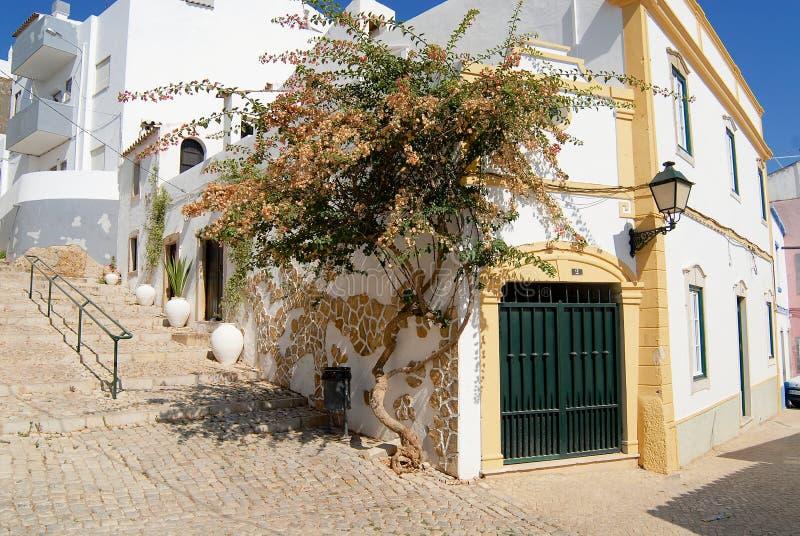 Vista a la calle con los edificios blancos tradicionales en Estoi (distrito) de Faro, Portugal imagenes de archivo