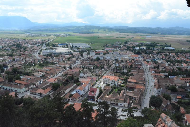 Vista a la ciudad de Rushnov de la fortaleza imágenes de archivo libres de regalías