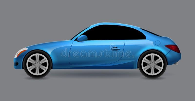Vista lateral aislada cupé del perfil del automóvil del vector Coche moderno de lujo del auto del transporte del sedán Ejemplo de ilustración del vector