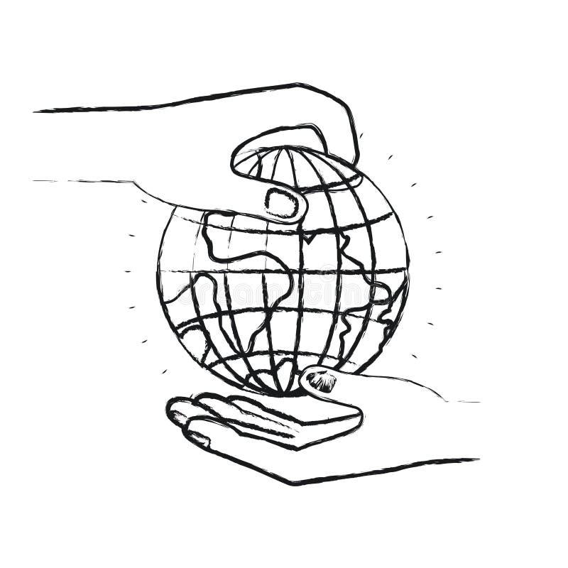 Vista lateral borrosa de la silueta del ser humano de la palma que lleva a cabo un símbolo de la caridad del mundo del globo de l stock de ilustración