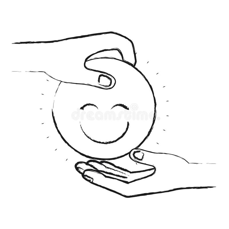 Vista lateral borrosa de la silueta del ser humano de la palma que lleva a cabo un símbolo feliz de la cara para depositar en la  stock de ilustración