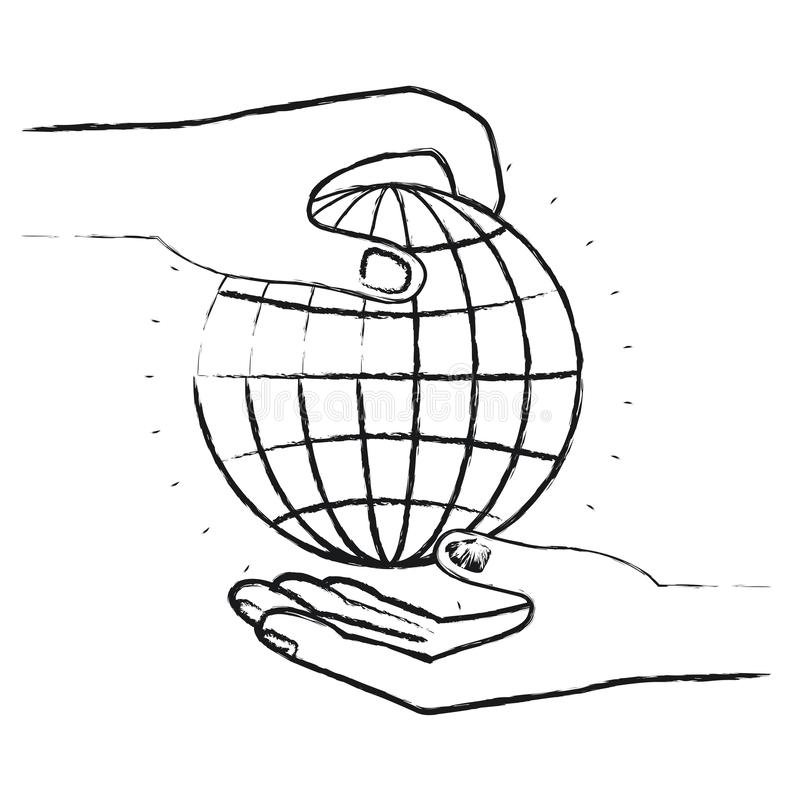 Vista lateral borrosa de la silueta del ser humano de la palma que lleva a cabo una carta del globo para depositar en la otra man stock de ilustración