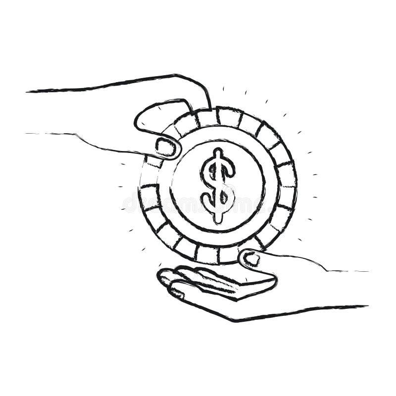 Vista lateral borrosa de la silueta del ser humano de la palma que sostiene una moneda con símbolo del dólar dentro para deposita ilustración del vector