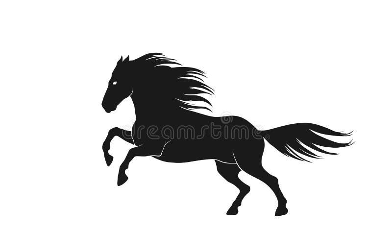 Vista lateral de funcionamiento de la silueta del caballo Imagen aislada del vector del animal stock de ilustración
