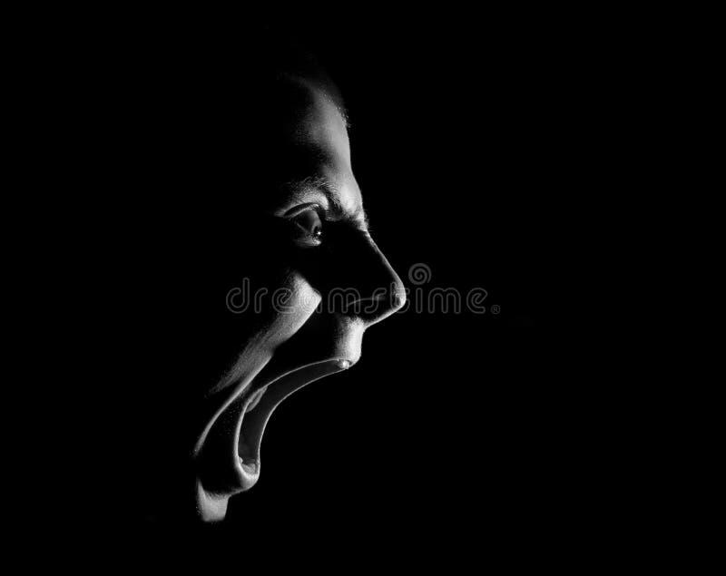 Vista lateral de gritar al individuo militante agresivo enojado, retrato blanco y negro aislado en negro fotografía de archivo libre de regalías